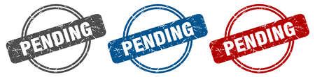 pending stamp. pending sign. pending label set Vectores