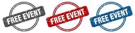 free event stamp. free event sign. free event label set