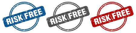 risk free stamp. risk free sign. risk free label set