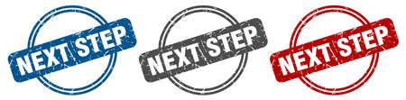 next step stamp. next step sign. next step label set