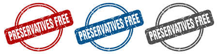 preservatives free stamp. preservatives free sign. preservatives free label set