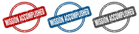 mission accomplished stamp. mission accomplished sign. mission accomplished label set Ilustração