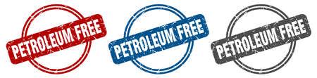 petroleum free stamp. petroleum free sign. petroleum free label set Иллюстрация