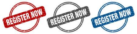 register now stamp. register now sign. register now label set