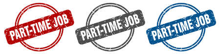 part-time job stamp. part-time job sign. part-time job label set