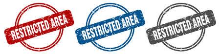 restricted area stamp. restricted area sign. restricted area label set