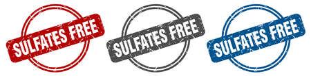 sulfates free stamp. sulfates free sign. sulfates free label set