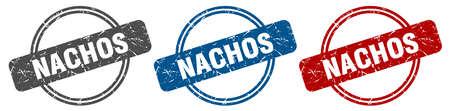 nachos stamp. nachos sign. nachos label set 일러스트