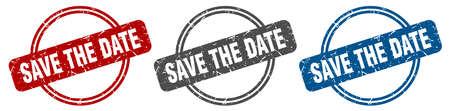 save the date stamp. save the date sign. save the date label set Stock Illustratie