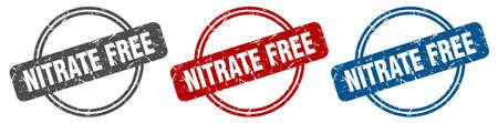 nitrate free stamp. nitrate free sign. nitrate free label set