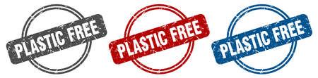 plastic free stamp. plastic free sign. plastic free label set