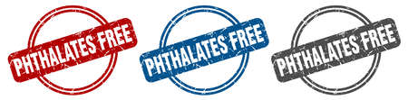 phthalates free stamp. phthalates free sign. phthalates free label set Иллюстрация