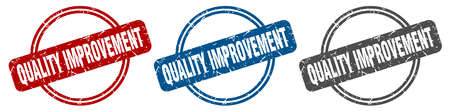 quality improvement stamp. quality improvement sign. quality improvement label set Ilustração