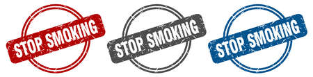 stop smoking stamp. stop smoking sign. stop smoking label set Illusztráció