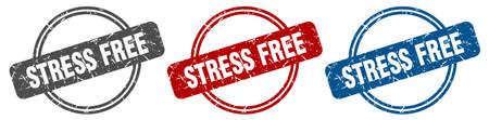stress free stamp. stress free sign. stress free label set Иллюстрация