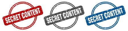 secret content stamp. secret content sign. secret content label set