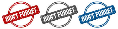 don't forget stamp. don't forget sign. don't forget label set Illustration