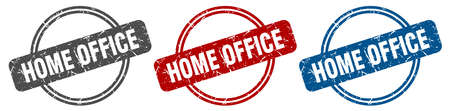home office stamp. home office sign. home office label set 矢量图像