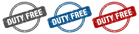 duty free stamp. duty free sign. duty free label set