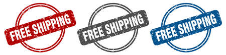 free shipping stamp. free shipping sign. free shipping label set Reklamní fotografie - 151153372