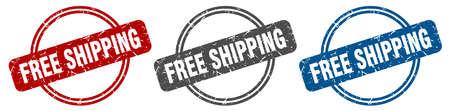 free shipping stamp. free shipping sign. free shipping label set Иллюстрация