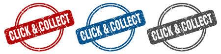 click & collect stamp. click & collect sign. click & collect label set Reklamní fotografie - 151153375