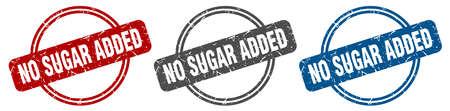 no sugar added stamp. no sugar added sign. no sugar added label set