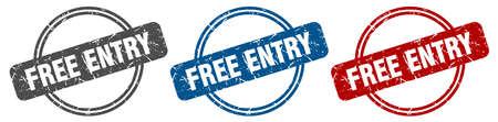 free entry stamp. free entry sign. free entry label set