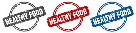 healthy food stamp. healthy food sign. healthy food label set Illusztráció