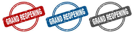 grand reopening stamp. grand reopening sign. grand reopening label set