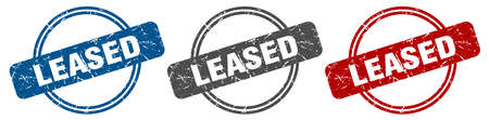 leased stamp. leased sign. leased label set