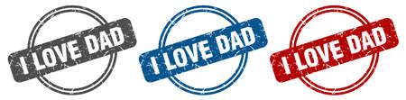 i love dad stamp. i love dad sign. i love dad label set