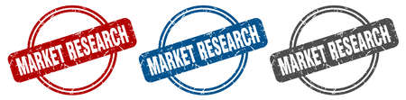 market research stamp. market research sign. market research label set