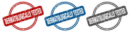 dermatologically tested stamp. dermatologically tested sign. dermatologically tested label set Ilustrace