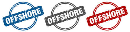 offshore stamp. offshore sign. offshore label set