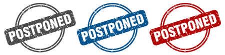 postponed stamp. postponed sign. postponed label set Reklamní fotografie - 151153477