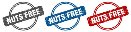 nuts free stamp. nuts free sign. nuts free label set