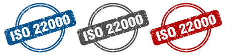iso 22000 stamp. iso 22000 sign. iso 22000 label set Ilustrace