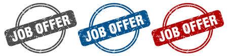 job offer stamp. job offer sign. job offer label set Ilustracja