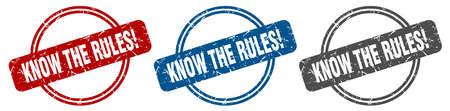 know the rules stamp. know the rules sign. know the rules label set Reklamní fotografie - 151153503