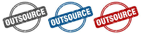 outsource stamp. outsource sign. outsource label set Ilustrace