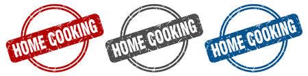 home cooking stamp. home cooking sign. home cooking label set 矢量图像