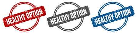 healthy option stamp. healthy option sign. healthy option label set Ilustracja