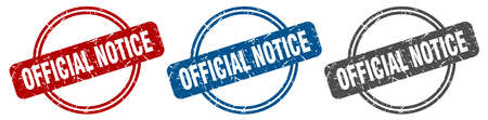 official notice stamp. official notice sign. official notice label set