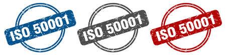 iso 50001 stamp. iso 50001 sign. iso 50001 label set Ilustracja