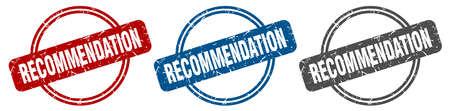 recommendation stamp. recommendation sign. recommendation label set Ilustracja