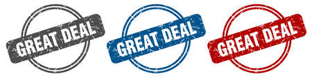 great deal stamp. great deal sign. great deal label set Ilustracja