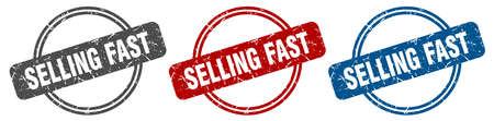 selling fast stamp. selling fast sign. selling fast label set Ilustracja