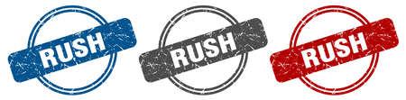 rush stamp. rush sign. rush label set