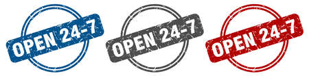 open 24 7 stamp. open 24 7 sign. open 24 7 label set Ilustracja
